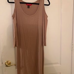 Tan Shoulder Cut Out Fitted Dress